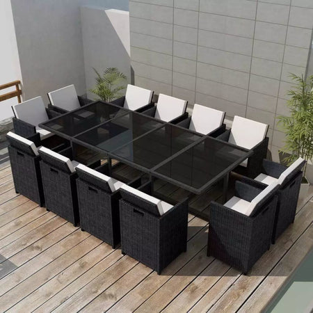 Outdoor Dinning Set 37 Pieces Black Poly Rattan - ALA TEAK