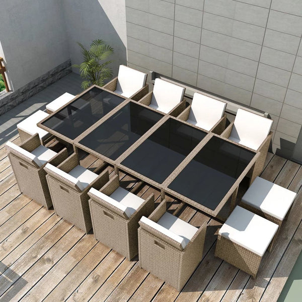 Outdoor Dinning Set 33 Pieces Grey/Beige Poly Rattan - ALA TEAK