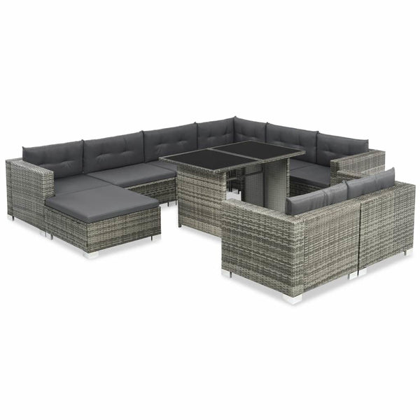 Outdoor Sofa Set 28 Pieces Poly Rattan Grey - ALA TEAK