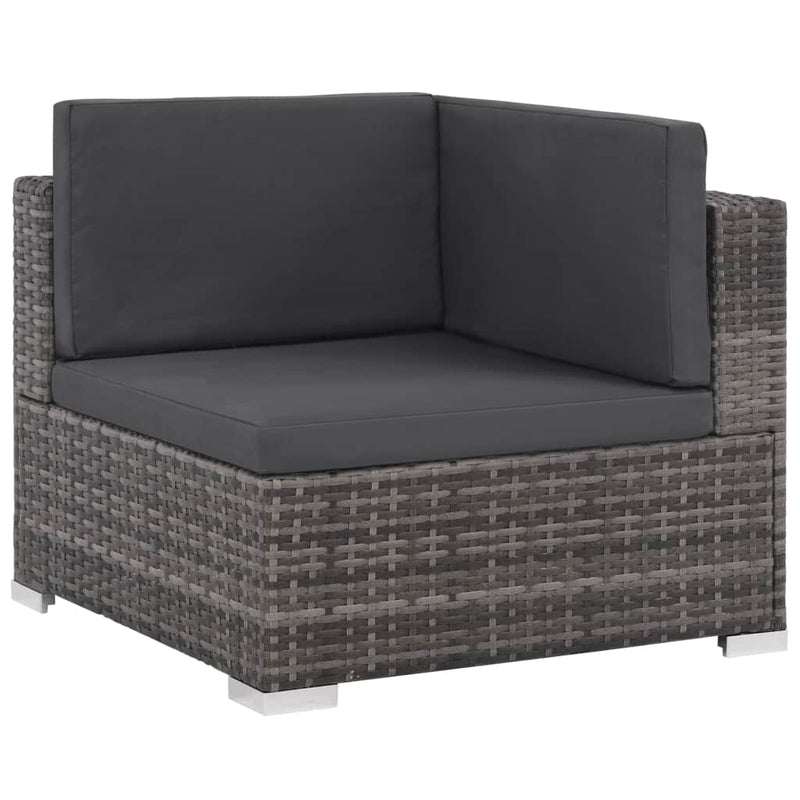Outdoor Sofa Set 20 Pieces Poly Rattan Grey - ALA TEAK