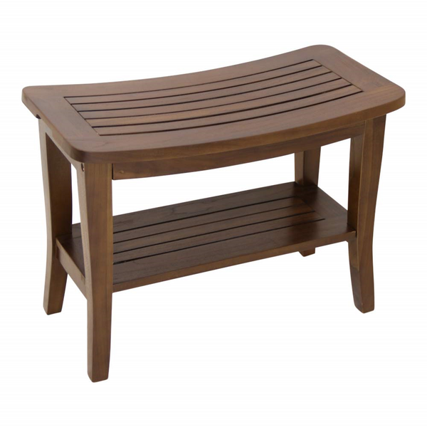 Ala Teak Waterproof Shower Bath Spa Bench Stool with Shelf Storage