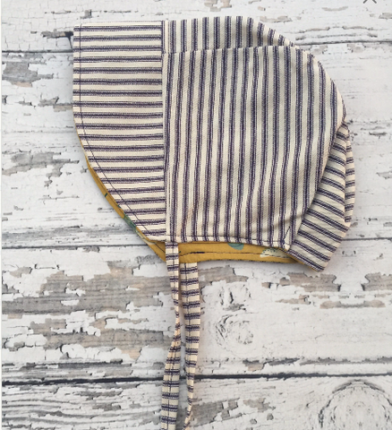Handmade Reversible Sun Bonnet in Stripes and Bugs