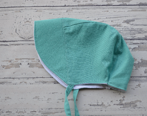 Handmade Reversible Bonnet in Teal and White