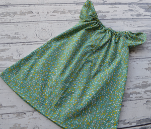Handmade Peasant Dress in Mint Dots