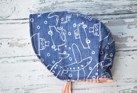 Handmade Reversible Boys Sun Bonnet