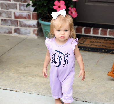 Ruffle Romper with Monogram
