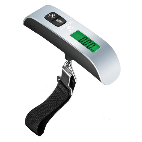 Accuoz Digital Luggage Scale w/ LCD Backlight Portable Best for Travel (Silver)