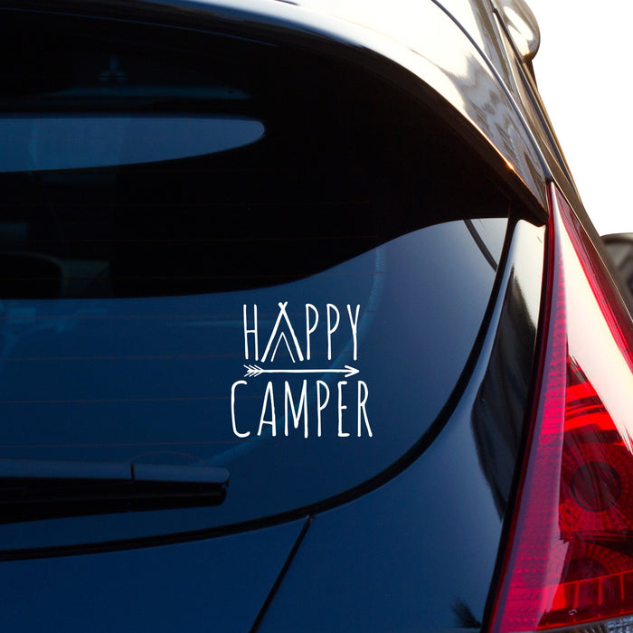 Happy Camper with Arrow and Tent Vinyl Decal - By NOMADO