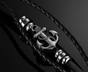 Vintage Anchor Black Leather Charm Bracelets