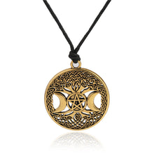 Triple Moon Goddess Wicca Pentagram Magic Amulet Necklace