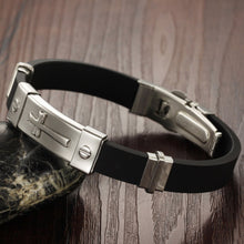 Stainless Steel Cross Silicone Bracelet