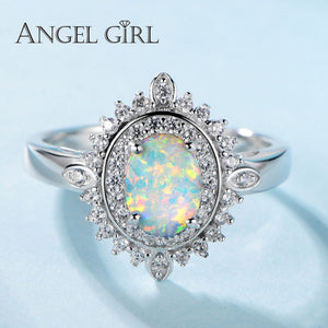 Angel Girl Silver Opal Oval Ring