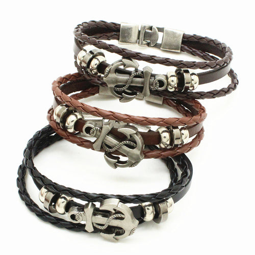 Leather Rope Handmade Double Layer Rudder Bracelet