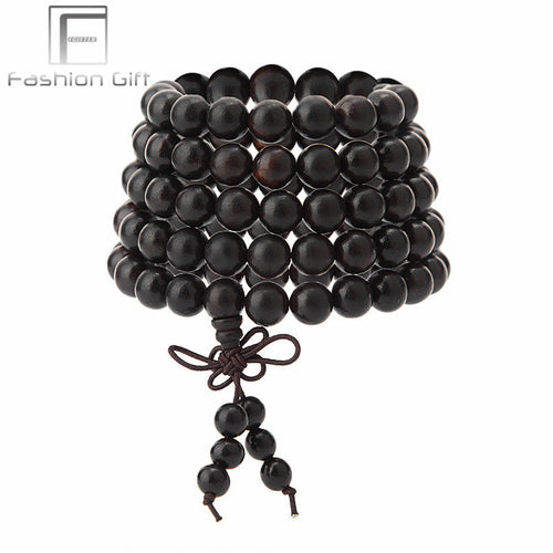Zen Buddhism Natural Wood Beaded Bracelet