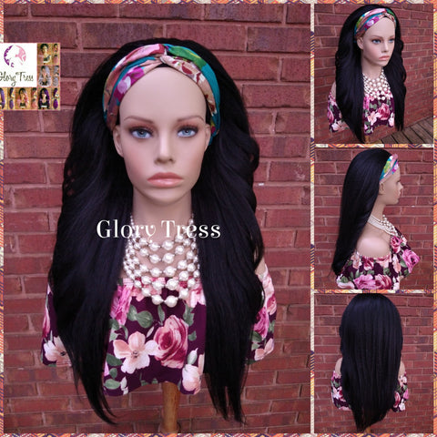 NEW ARRIVAL // Headband Half Wig - Yaki Straight Half Wig - Beginner Friendly Wig, Glory Tress Wigs - African American Wig // BEAUTY