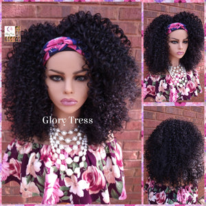 Headband Half Wig - Kinky Curly Wig - Black Wig - Beginner Friendly Wig - Glory Tress Wigs - African American Wig // JOURNEY