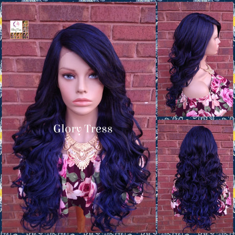 Lace Front Wig, Blue & Black Wig, Glory Tress Wigs, Long Loose Curly Lace Front Wig // GRACEFULNESS