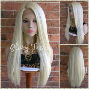 ON SALE // Long & Straight Lace Front Wig, 100% Human Blend Wig, Platinum Blonde Wig, Free Parting, Swiss Lace// NAOMI - Glory Tress
