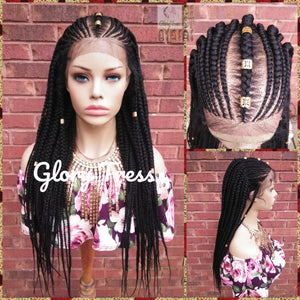 Fulani Box Braided Lace Front Wig, Braided Wig, Senegal Wig, Glory Tress, Corn Row Wig, African American Wig, 13x4 Lace, ON SALE // PERFECT2