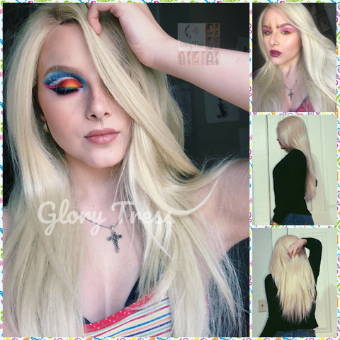 ON SALE // Long & Straight Lace Front Wig, 100% Human Blend Wig, Platinum Blonde Wig, Free Parting, Swiss Lace// NAOMI