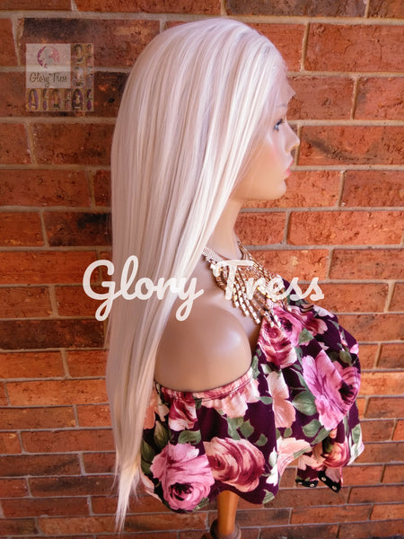 White Platinum Blonde Lace Wig, Long Straight Wig, 60 White Blonde Wig, Free Parting, Soft Swiss Lace, READY To SHIP // PURE