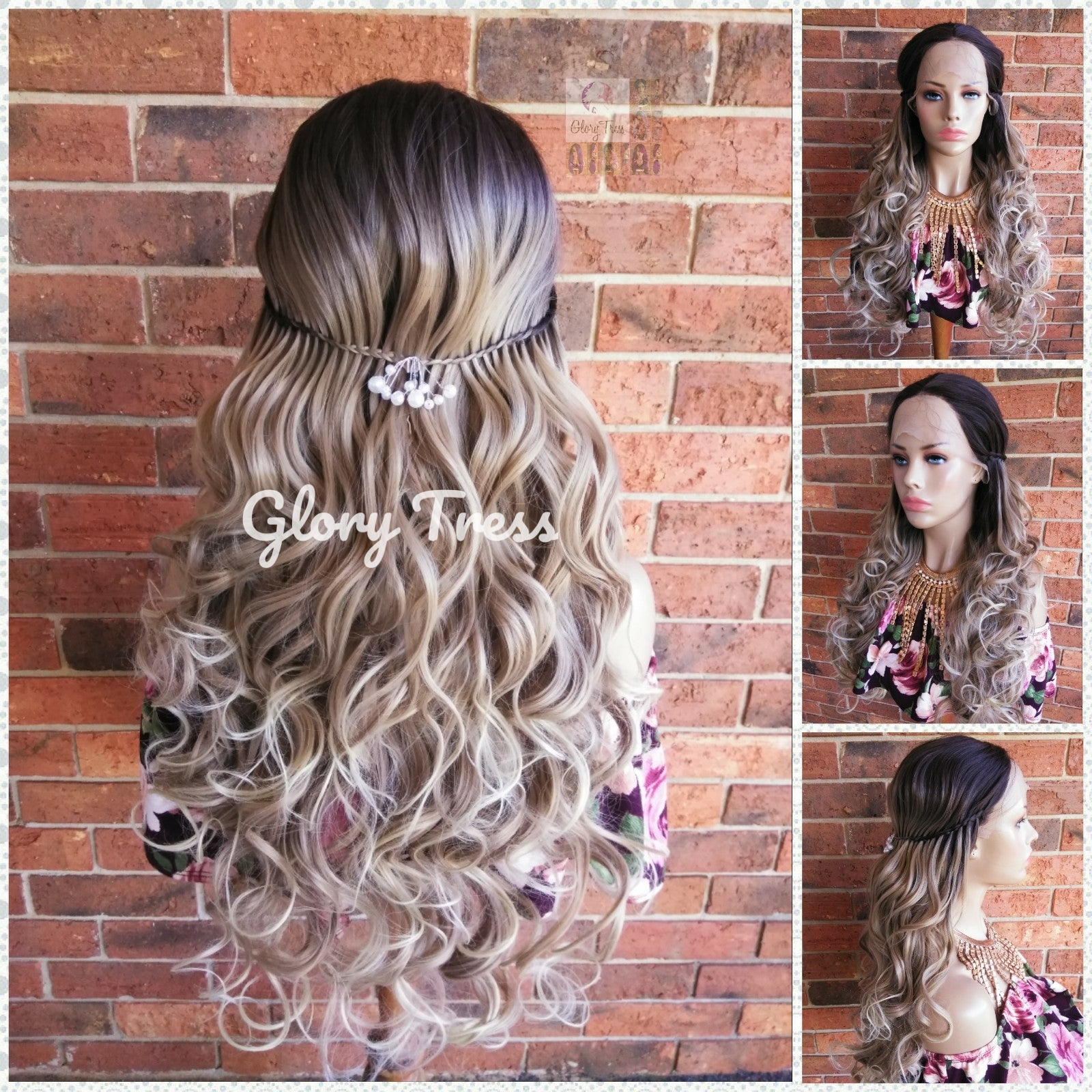 Curly Lace Front Wig, Wigs, Wedding / Prom Hairstyle, Braided Wig, Ombre Blonde Wig, Free Parting, Ash Blonde Wig, Dirty Blonde // ELEGANCE