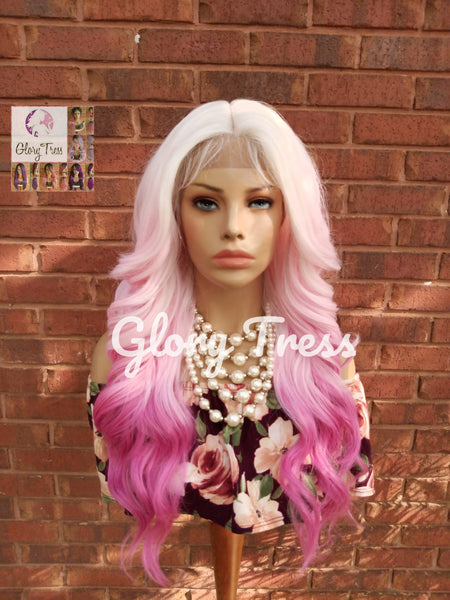 Wavy Lace Front Wig, Wig, Ombre Pink Wig, Glory Tress, Pink Wig, Unicorn Haircolor, Cosplay Wig, Heat Safe, ON SALE // DIVA