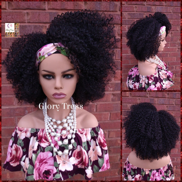Headband Half Wig - Kinky Curly Wig - Black Wig - Beginner Friendly Wig - Glory Tress Wigs - African American Wig // DESTINY