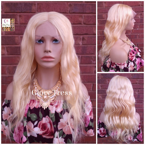 "24"" Wavy Blonde Lace Front Wig, Human Hair Wig, 100% Brazilian Remy Wig, 613 Platinum Blonde, Lace Part Wig // DIVINE"