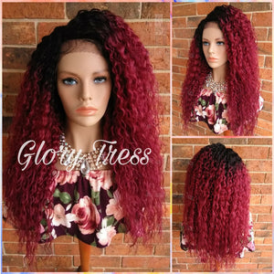ON SALE // Long Deep Wavy Lace Front Wig, Ombre Burgundy Wig, Heat Safe, Soft Swiss Lace// WINE (Free Shipping) - Glory Tress