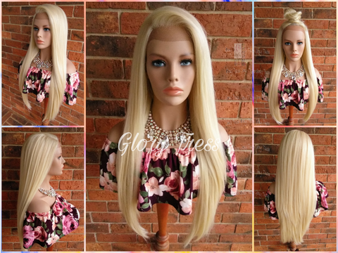 ON SALE //Long & Straight Lace Front Wig, 100% Human Blend Wig, 613 Platinum Blonde Wig, 13x4 Free Parting, Soft Swiss Lace//GLAMOROUS - Glory Tress