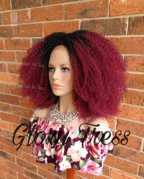 ON SALE // Kinky Curly Lace Front Wig, Big Curly Afro Wig, Ombre Burgundy Wig //GRAND - Glory Tress