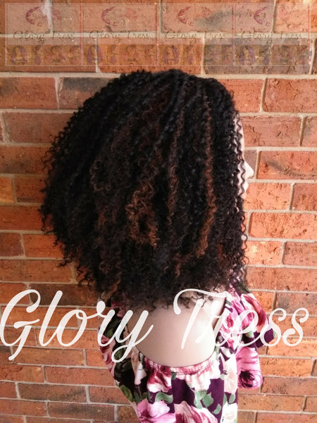 Kinky Curly Lace Front Wig, Big Curly Afro Wig, Black Wig With Auburn Highlights, Curly Wig, ON SALE // GRAND - Glory Tress