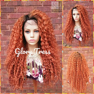 Lace Front Wig, Wigs, Kinky Curly Lace Front Wig, Glory Tress Wigs, Ombre Copper Wig, Wig, Orange Wig, ON SALE // VIBRANT