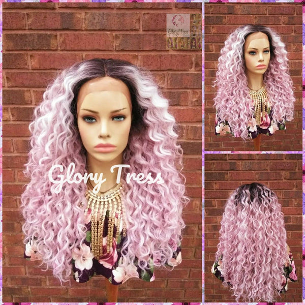 Long Kinky Curly Lace Front Wig, Ombre Pink Wig, Glory Tress, ON SALE // HAPPY