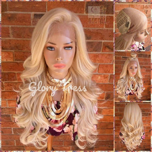 Lace Front Wig - Wigs - Glory Tress - Human Hair Blended Wig - Wavy Wig - Platinum Blonde Wig - Free Parting - ON SALE // LUXURIOUS