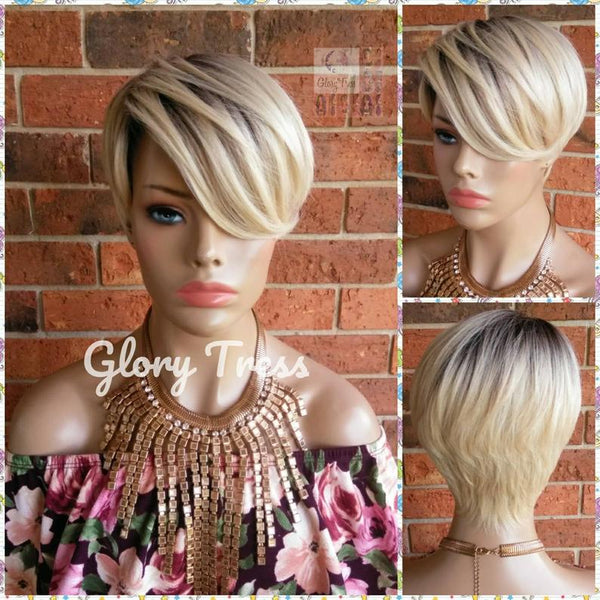 Blonde Wig - Full Cap Wig - Wigs - Glory Tress - Ombre Wig - Short Razor Cut Wig - Platinum Blonde Wig - Straight Wig - ON SALE // DEVOTE