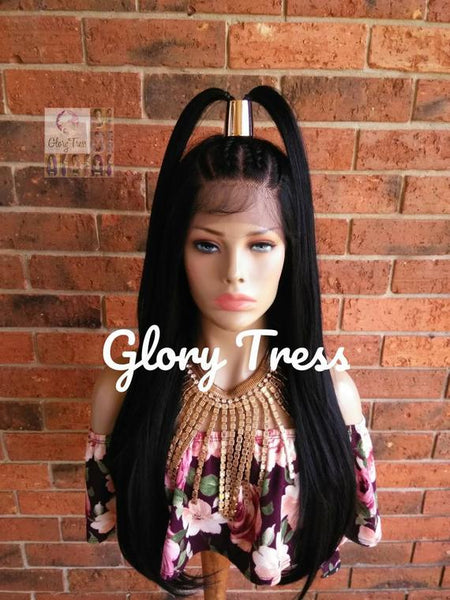 Straight Lace Front Wig, Hand-Braided Wig, Human Blended Wig, Corn Row Wig, African American Wig, 13x4 Lace / REDEMPTION
