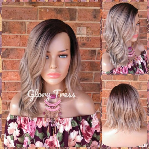 ON SALE // Wavy Bob Full Wig, Ombre Wig, Ash Blonde Wig, Heat Safe // INTEGRITY