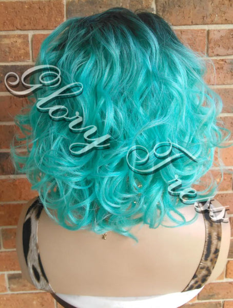 READY To SHIP // Short Curly Bob Full Wig, Curly Bob Wig, Ombre Mint Green Wig, Lace Parting Closure // ENDURE