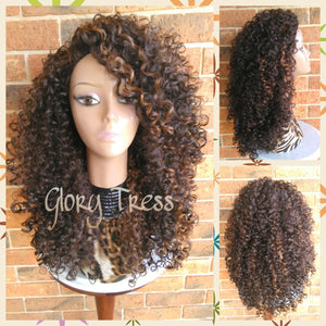 ON SALE // Big Kinky Curly Half Wig, Ombre Wig, Beach Curly Afro Wig, African American Wig // FAVOR - Glory Tress