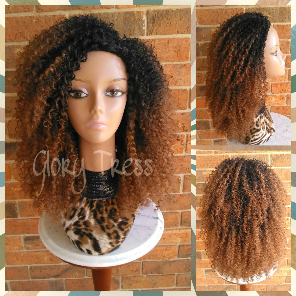 ON SALE // 3C Kinky Curly Half Wig, Ombre Auburn Wig, Big Curly Afro Wig, African American Wig // AMAZED - Glory Tress