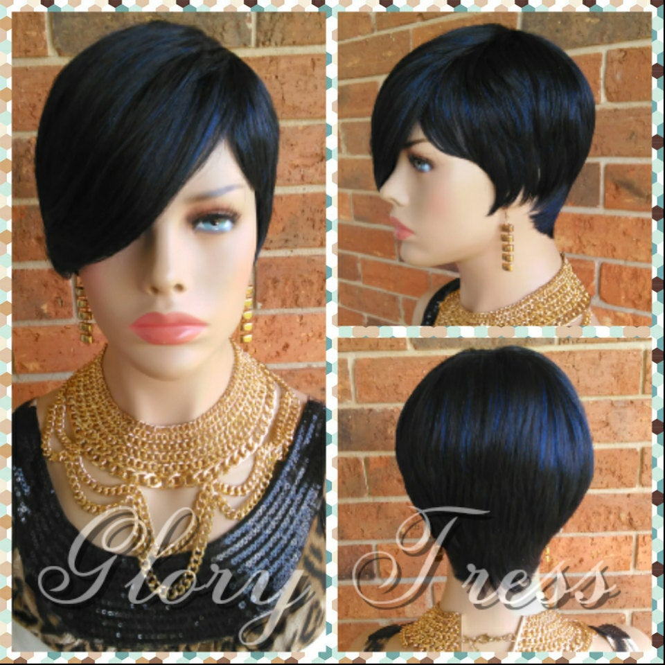 READY To SHIP // Short Razor Cut Full Wig, Pixie Cut Hairstyle With Long  Side Bangs, Blue Black Wig // REJOICE