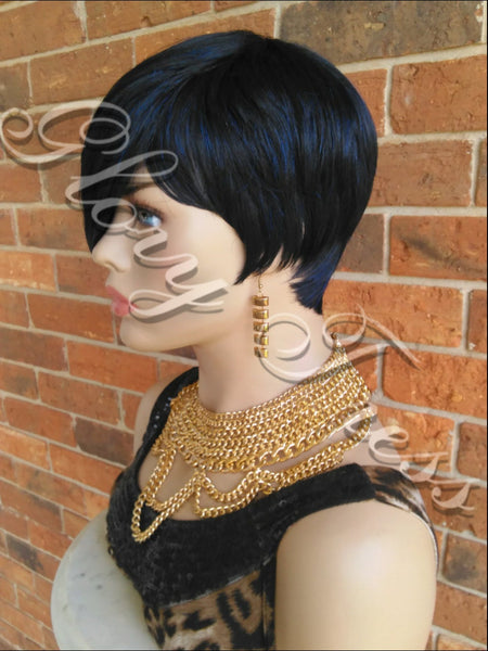 READY To SHIP // Short Razor Cut Full Wig, Pixie Cut Hairstyle With Long Side Bangs, Blue Black Wig // REJOICE - Glory Tress