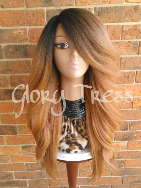 ON SALE // Voluminous Kinky Curly Lace Front Wig, Natural Yaki Wig, Blown Out Hairstyle, African American Wig // CROWN (Free Shipping) - Glory Tress