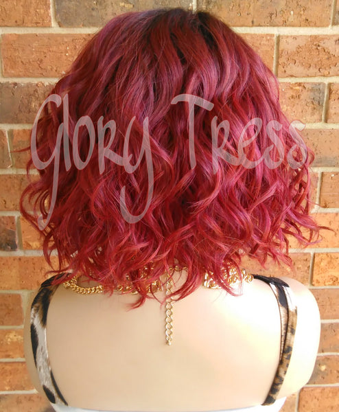 ON SALE // Short & Wavy Bob Lace Front Wig, 100% Human Hair Blend, Ombre Red Wig // DELIGHT ( Free Shipping) - Glory Tress