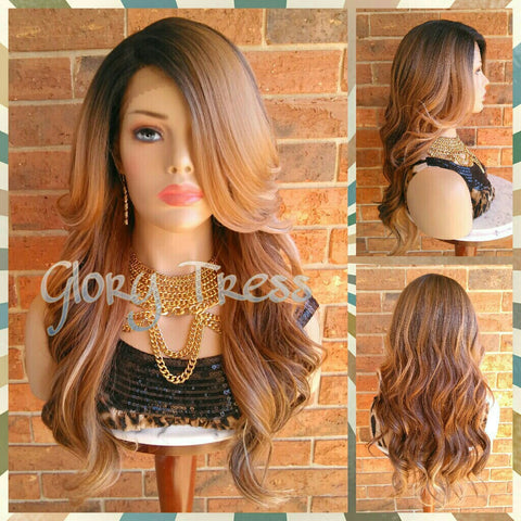 ON SALE // Long Silky Wavy Lace Front Wig, Ombre Blonde Wig, Dark Rooted Bombshell Wig // PURITY (Free Shipping) - Glory Tress