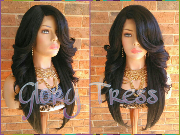 READY To SHIP // Long Glamorous Curly Lace Front Wig, Black Bombshell Wig, Heat Safe // HONEY (Free Shipping) - Glory Tress