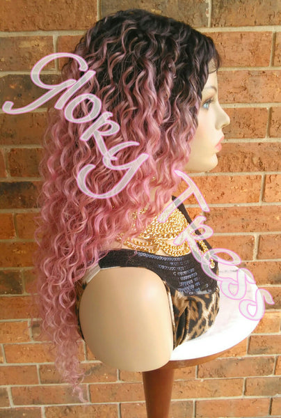 ON SALE // Long Kinky Curly Lace Front Wig, Ombre Pink Wig, Beach Curls//GIVE ( Free Shipping ) - Glory Tress