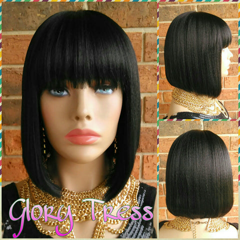 ON SALE //Celebrity Inspired China Bob Wig, 100% Human Hair Blend Wig, Short & Straight Full Wig, Yaki Texture// EGYPTIAN (Free Shipping) - Glory Tress